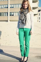 green H&M pants - heather gray JCrew sweater - dark brown Aldo scarf