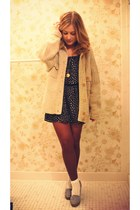 beige Geisha Pearl vintage sweater - navy borrowed dress - periwinkle DSW shoes