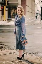 navy sheer vintage shirt - charcoal gray midi vintage skirt - black Loris Shoes