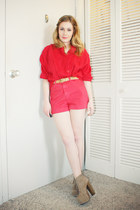 red vintage sweater - red American Apparel shorts - tan lita Jeffrey Campbell he