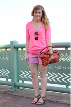 tawny karma bag - hot pink Forever 21 shirt - hot pink JCrew shorts
