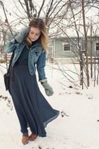 blue American Eagle jacket - navy vintage skirt - burnt orange Jeffrey Campbell