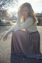 heather gray JCrew sweater - tawny Forever 21 belt - pink maxi American Apparel