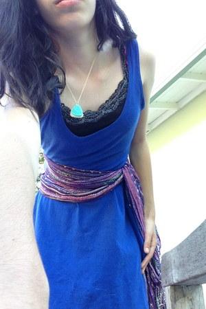 blue Sparkle and Fade dress - deep purple one of a kind scarf