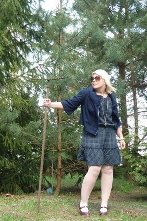 blue Newlook dress - blue no name jacket - purple no name shoes - silver H&M nec