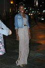 Light-brown-zara-shoes-beige-long-f21-dress-sky-blue-h-m-jacket