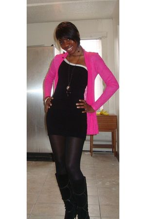 pink HIP from Macys cardigan - black f21 dress - black H&amp;M tights - black Aldo b