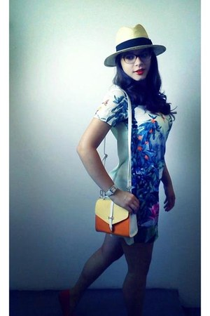 jungle H&M dress - straw hat H&M hat - Orsay bag