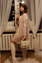 white leather bag bag - cream no name socks - light pink H&M cardigan