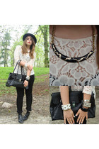 black round H&M hat - cream lace H&M top - black skinny reserved pants
