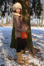 Tan-jacket-beige-checkered-burberry-scarf-carrot-orange-h-m-bag