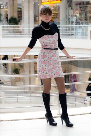 black Nine West shoes - pink Oasis dress - black Oggy sweater