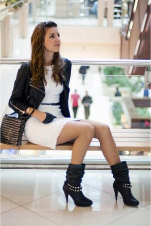 black karen millen jacket - black MORGAN shoes - white karen millen dress