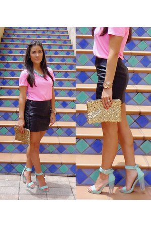 hot pink Forever 21 shirt - hello fab purse - black Forever 21 skirt