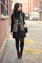 black Old Navy top - dark brown Luxury Rebel boots - army green H&M skirt