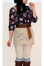 Black-h-m-via-thrift-town-blouse-beige-jacob-skirt-brown-topshop-belt-brow