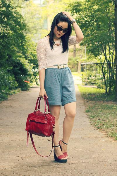 lace Forever 21 blouse - mini mab Rebecca Minkoff bag