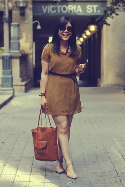 brown H&M bag - mustard Forever 21 dress - dark brown Forever 21 belt