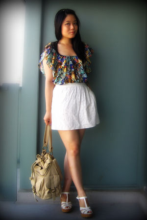 green H&amp;M blouse - white Urban Outfitters skirt - white Forever 21 shoes - beige