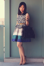 pleated Zara skirt - black OASAP bag - dalmatian-print H&M top