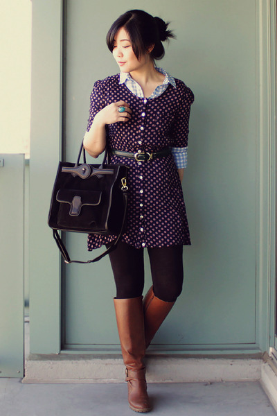 navy polkadot Egocloset dress - brown Aldo boots