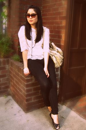 white Forever 21 blouse - black Uniqlo jeans - black Blowfish shoes - beige Urba