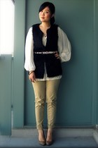 black Forever 21 vest - white Mango blouse - dark khaki H&M pants - dark khaki A