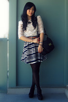 black Marc by Marc Jacobs bag - brown vintage belt - navy H&M skirt - white Fore