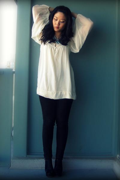 white Mango blouse - black Uniqlo jeans - black Jeffrey Campbell shoes - blue Fo