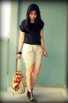 black Bedo blouse - beige River Island shorts - beige Urban Outfitters purse - b