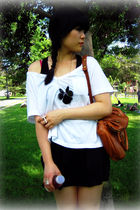 white Old Navy t-shirt - black dress - black Forever 21 necklace - brown the sak