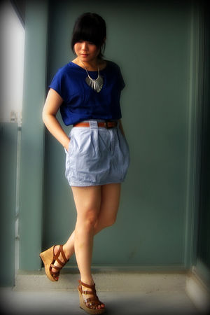 blue Uniqlo blouse - blue Silence &amp; Noise skirt - brown belt - brown Aldo shoes 
