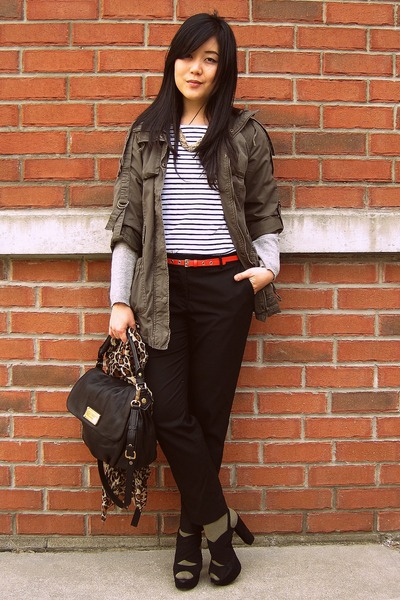 army green Forever 21 jacket - black Marc by Marc Jacobs bag - red H&M belt - wh