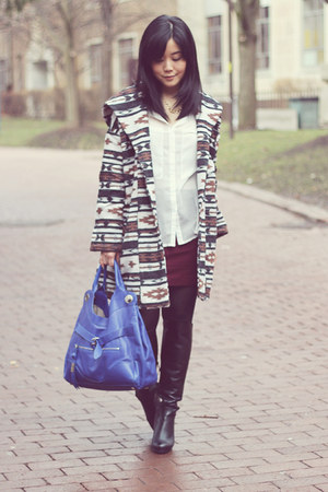 BB Dakota coat - black Aldo boots - blue foley & corinna bag