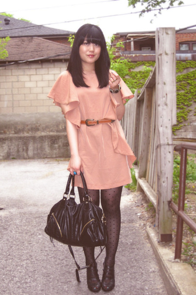 black Urban Outfitters bag - black BCBGgirls shoes - orange H&M dress