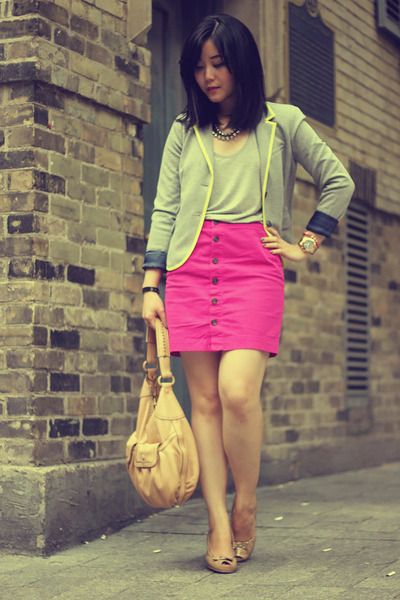 hot pink Gap skirt - heather gray Gap blazer - beige Cole Haan bag