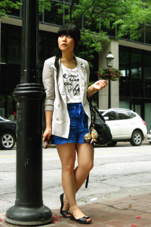 blue H&amp;M shorts - black Blowfish shoes - gray Silence &amp; Noise blazer