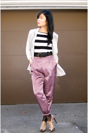 beige Aldo shoes - gray Urban Outfitters blazer - purple Urban Outfitters pants