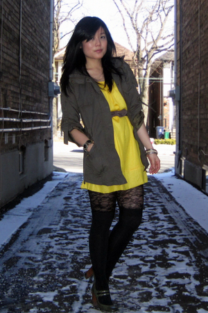 green Forever 21 jacket - green Payless shoes - yellow winners dress