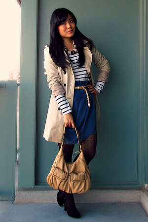 blue Forever 21 skirt - camel Zara jacket - beige Cole Haan bag