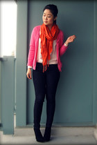black Uniqlo jeans - carrot orange Ardene scarf - hot pink H&M cardigan - pink H