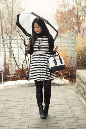black knee-high boots Aldo boots - striped Kimchi Blue dress