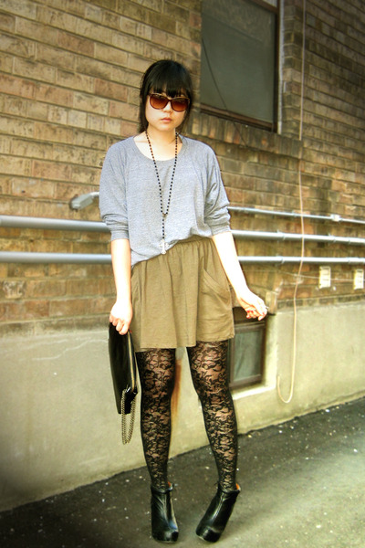 green Zara skirt - black tureson Aldo boots - gray American Apparel sweater
