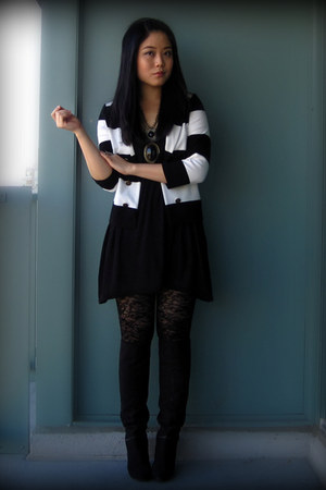 black H&M blazer - black H&M dress - black Ardene tights - black Nine West boots