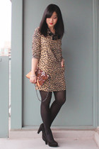 printed J Crew dress - clutch Mango bag - suede Aldo heels