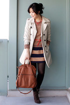tawny the sak bag - dark brown suede Luxury Rebel boots - navy striped H&M dress