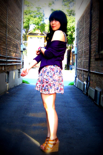 purple Nation ltd top - brown wedges Aldo shoes - pink floral Zara skirt