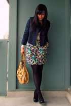 deep purple multicolor H&M skirt - navy H&M jacket - neutral H&M sweater