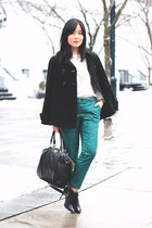 black DKNY boots - black Zara coat - black coach bag - white Zara blouse