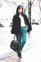 black DKNY boots - black Zara coat - black coach bag - white Zara blouse